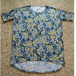 LulaRoe Irma Top Blue/Yellow Paisley
